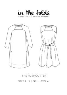 The Rushcutter pattern: View A features three-quarter length raglan sleeves, large side pockets, invisible zip, bound neckline and a wide hem facing. View B is a sleeveless version, with back button closure. It features in-seam pockets, with neckline and armholes finished with bias binding. Included in the pattern is an optional waist sash, that is suitable for both styles.