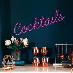 Cocktails Neon Sign This truly unique personalised cocktails neon sign is gorgeous in a home bar, kitchen or above your uber trendy drinks trolley!This neon sign is handmade in our workshop, please no Neon Signs Home, Neon Bar Signs, Home Bar Signs, Home Bar Decor, Personalized Neon Signs, Custom Neon Signs, Personalised Gifts, Diy Neon Sign, Custom Home Bars