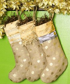 Silver and Gold Personalized Holiday Stockings by OnAMissionDesignCo on Etsy