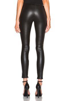 f5deaf769a31 Image 4 of Saint Laurent Leather Leggings in ブラック Lederstrumpfhosen, Latex, Glänzenden  Leggings,