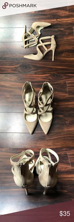 Tan suede heels Worn once to a wedding. Suede with scuff on heel (see photo). Zipper in back. Slight discoloration on inside of back. Strappy design and very comfortable. BCBGeneration Shoes Heels