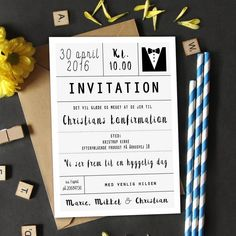 *** INVITATION TIL KONFIRMATION *** Enkelt design til drengen, der skal konfirmeres i 2018! - @cloudcelebration Niklas, Diy And Crafts, Paper Crafts, Event Branding, Christening, Box, Projects To Try, Invitations, Inspiration