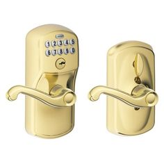 Buy Schlage FE595 V PLY 505 FLA Plymouth Keypad Entry with Flex-Lock and Flair Style Levers, Bright Brass