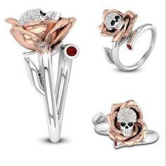 Fabulous Women's Skull Ring Punk Two Tone Flower Skeleton Diamond Open Rings Tr