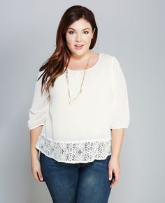 Lace Trim High-Low Woven Top Lace Trim High-Low Woven Top