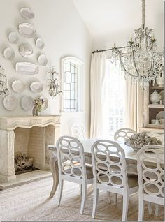 white and beige european style dining room with touch of modern