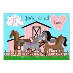 """Custom I Love Horses Birthday 5x7 Invitation 5"""" X 7"""" Invitation Card"""