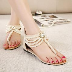 New Pearl Chain Beads With Rhinestone Sandals Flat Heel Flip Flops Fashion Sexy Women Sandals Shoes Epacket Ladies Footwear Fashion Shoes From Tradingbear, $24.93| Dhgate.Com