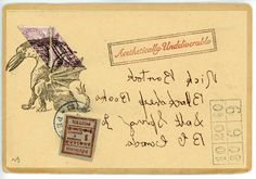 Backward Nick. Original Mail Art by Nick Bantock.