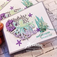 I had fun colouring my octopus with the Stampin' Write Markers! I chose Soft Sea Foam, Coastal Cabana, Highland Heather and Gorgeous Grape. Don't forget to breathe on your colouring before you stamp to help blend the colours! . . . #stampinup #artisandesignteam #seaoftextures #loisirscreatifs #cardmaking #handmadecard #paperie #carterie #fathersdaycard