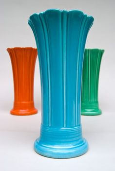Vintage Fiesta 10 inch Original Turquoise  Fiestaware Pottery Vase: Gift, Rare, Hard to Find, Buy Onlline Now, American Antique Pottery