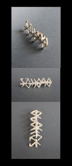 "Ring made from sterling silver. ""The first from a series of six bindrunes. Its texture is the rough, shows the origins and evolution of runes and human culture and crafts. Inequality and rough surface resembles the bark of ash, the sacred tree of the Vikings."" Meaning behind the ring: #femalewisdom #peacefulexistence #creativity"