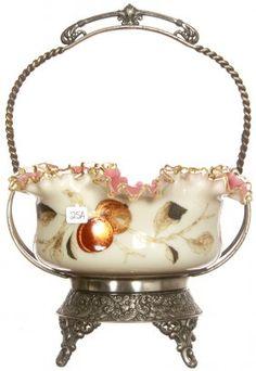 BRIDES BASKET Victorian Bride, Victorian Art, Brides Basket, Branch Decor, Antique Glassware, Antique Auctions, Glass Collection, Art Object, Hand Blown Glass