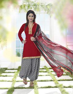 Buy Graceful Red Patiala Salwar Kameez online at  https://www.a1designerwear.com/graceful-red-patiala-salwar-kameez-2  Price: $22.38 USD