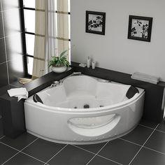 petite baignoire d 39 angle en forme de coeur avec le verre. Black Bedroom Furniture Sets. Home Design Ideas