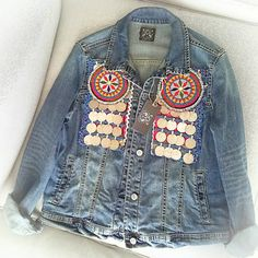 Unique and exclusive denim vintage jacket. Customized with authentic vintage tribal textiles, hand embroidered by nomadic tribe. Apply of ancient ethnic coins. Jean Jacket Design, Lehenga, Garba Dress, Afghan Dresses, Vintage Embroidery, Embroidery Patterns, Vintage Jacket, Outerwear Jackets, Denim Jackets
