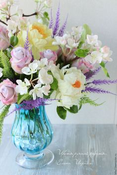 Купить Букет цветов из полимерной глины. Керамическая флористика - комбинированный, сиреневый, желтый, белый