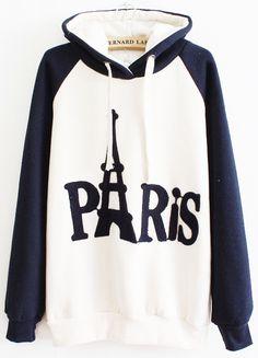 Amo mucho ésta sudadera.. Sudadera PARIS con capucha combinado azul-Blanco US$30.16