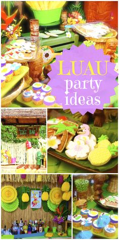 What a gorgeous luau party, with fondant topped cookies, a tiki bar and pineapple and hibiscus decorated sugar cookies.  See more party ideas at CatchMyParty.com!