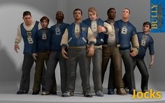 Jocks Clique (Bully) XPS Models by the-architect-x on DeviantArt Karate, Game Character, Character Design, Bully Game, Gary Smith, Dark Green Aesthetic, Girl Dorms, Steven Universe Memes, Rockstar Games