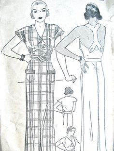 Early 1930s Halter Dress Pattern by Pictorial Printed Patterns 7007  Bust 34 inches door Fancywork op Etsy https://www.etsy.com/nl/listing/205103591/early-1930s-halter-dress-pattern-by