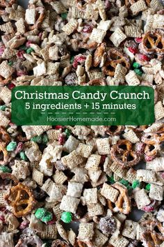 Whip up this Christmas Candy Crunch in 15 minutes or less and ONLY 5 ingredients! Perfect for Holiday Gift Giving! Pin to your Christmas Board! christmas food and drinks Christmas Snacks, Christmas Cooking, Christmas Goodies, Holiday Treats, Holiday Recipes, Christmas Crunch, Christmas Recipes, Holiday Candy, Holiday Baking Ideas Christmas