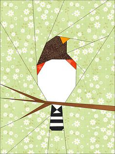 Paper pieced bird quilt block