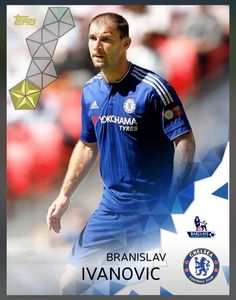Branislav Ivanovic Chelsea (Barclay Premier League) Gold Parallel Base Card 2016 Topps KICK