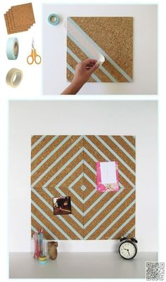 3. DIY #Decorative Cork Board - 34 DIY Dorm Room Decor #Projects to Spice up Your Room ... → DIY #Decor