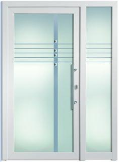 Modell Maia 2 Aluminium-Eingangstüre in weiß mit Seitenteil - Außenansicht…