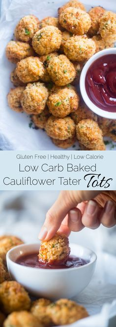 Cauliflower Tater Tots - A gluten free, lower carb version of the classic comfort food that are crispy on the outside and soft on the inside. You'll never know they're healthy and made from hidden veggies!   Foodfaithfitness.com   @FoodFaithFit
