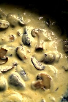 garlic mushroom cream sauce with pasta (catch me, I think I'm swooning...asw) heee heee
