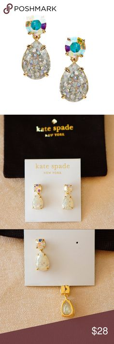 "Kate Spade Opal Glitter Double Drop Earrings * 12k gold–plated /glitter-injected epoxy/steel posts * 7/8"" L * Post backs Stella & Dot Jewelry Earrings"
