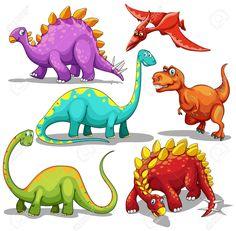 Verschillende Soorten Dinosaurussen Illustratie Royalty Vrije Cliparts, Vectoren, En Stock Illustratie. Image 46169148.