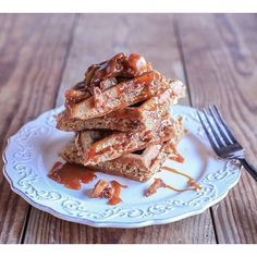 Savory Roasted Apple Pecan And Brie Buckwheat Waffles With Bourbon Caramel Drizzle