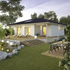 Decorating Your American Bungalow Style House Modern Bungalow House, Modern House Plans, Small House Design, Modern House Design, Architectural Design House Plans, Architecture Design, Bali Style Home, Living Haus, Small Modern Home