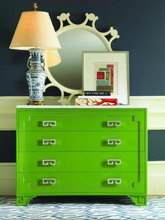 Me likey. Oscar de la Renta Dresser & Century Furniture mirror.