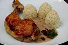 Kuřecí stehýnka na jablíčkách a brusinkách (od 1 roku) Tandoori Chicken, Rice, Meat, Ethnic Recipes, Food, Essen, Meals, Yemek, Laughter