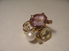 Magnificent 14K Yellow Gold Citrine Amethyst Pearl by ggemsonline, $695.00