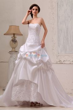 Sumptuous Princess Strapless Dipped Neckline Hi-low Ivory Wedding Dress