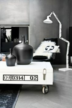 modern black and white interior design home HK Living Black And White Interior, White Interior Design, Interior Styling, Interior Decorating, Black White, Ikea Cd, Coffee Table With Wheels, Deco Design, White Houses