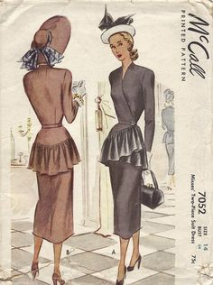 Vintage Pattern McCall 7052 Misses' Jacket with Ruffled Peplum and Skirt. #vintage #1940s #sewing_patterns