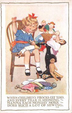 quenalbertini: Susan B Pearse card Vintage Cards, Vintage Postcards, Vintage Images, Vintage Artwork, Vintage Prints, Nostalgic Art, Postcard Art, Sewing Art, Kids Prints