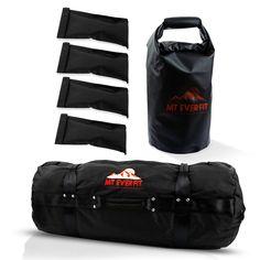 Sandbag Workout Bag & Sandbag Kettlebell Set -  Fitness Sandbags with 8 Foam Padded Handles & 3 Inner Bags - Black / Large 125-200LB