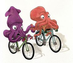 Octopus on bikes. So, I have a new obsession: Octopuses. They are crazy smart and crazy cute. It's a fact. It's SCIENCE.