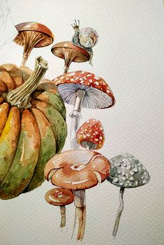 Art Drawings Sketches Simple, Colorful Drawings, Pretty Art, Cute Art, Manga Watercolor, Mushroom Drawing, Painting Inspiration, Journal Inspiration, Marker Art