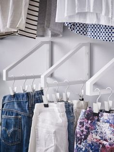 LOVE this idea!...$2 ikea shelf brackets turned closet clothes storage...link on here http://www.ikea.com/us/en/catalog/products/30168724/ by MyLittleCornerOfTheWorld