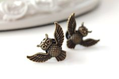Brass owl plugs 8MM 0g gauged stretched ears Gothic by DinaFragola