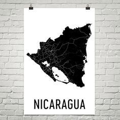 Nicaragua Map, Map of Nicaragua, Nicaraguan Art, Nicaragua Decor, Nicaragua Gift, Nicaragua Print, Nicaragua Poster, Nicaragua Wall Art