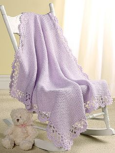 Lavender Lace Baby Afghan by Hilary Murphy. Crochet! Magazine, May 2005.